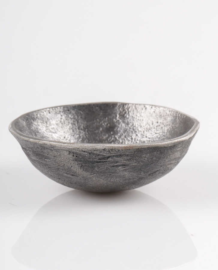 hand made metal bowl with silver texture