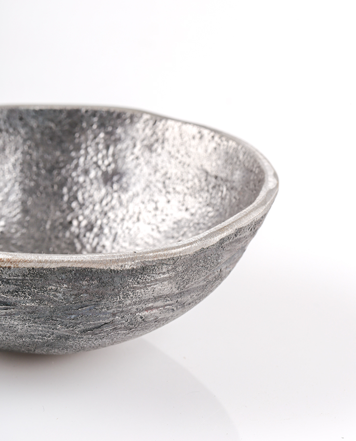 unique handmade metal bowl with silver texture