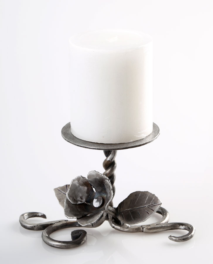 Candle Holder with a rose in bloom with leaves - handmade iron