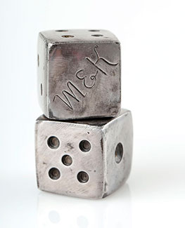 Dice handmade from old iron and engraved