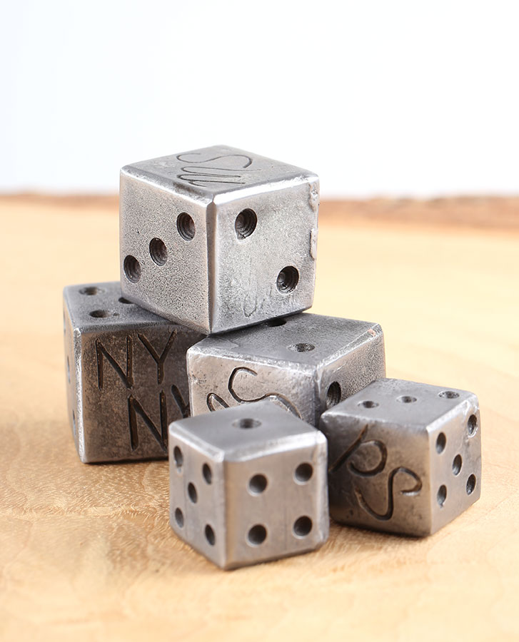 handmade iron steel dice gift idea for him