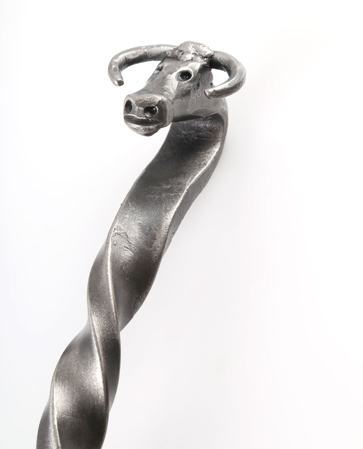 bulls head handle wrought iron fireplace tool