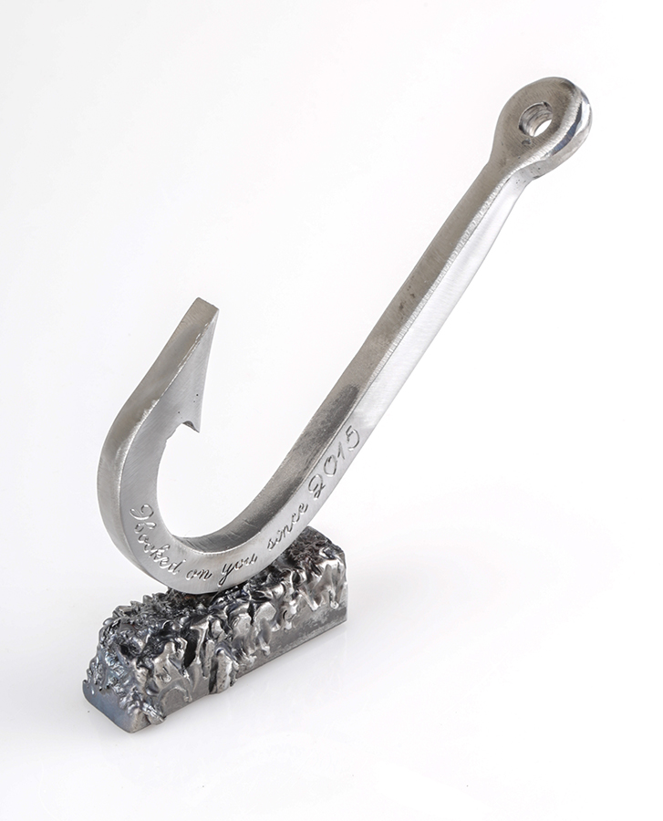 Fish hook sculpture engraved for 6 year wedding anniversary