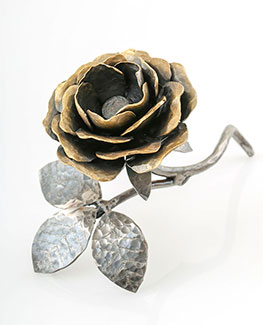 Golden Rose - handmade wrought iron