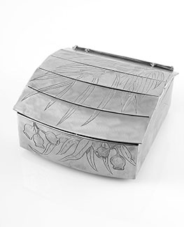 Jewellery box engraved and etched with leaves, nuts and seeds