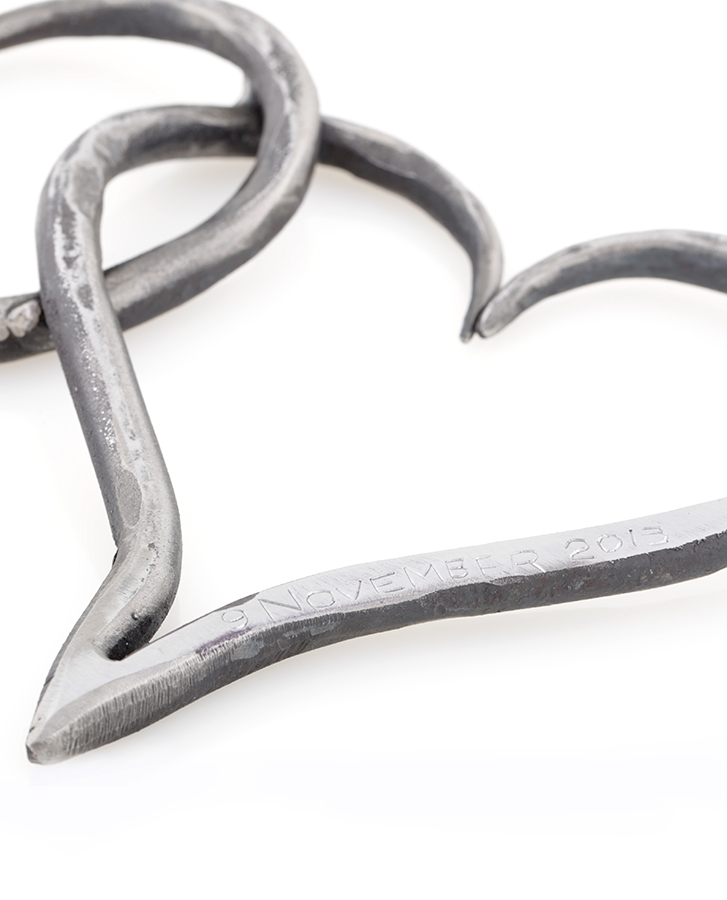 wrought iron lovehearts engraved handmade gift