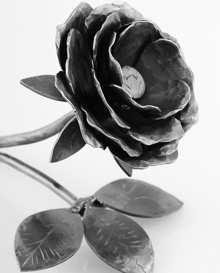 Perfect gift, handmade wrought iron rose