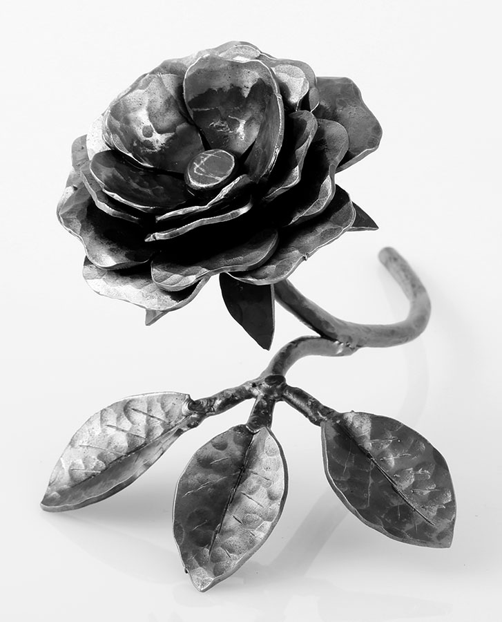 handmade iron rose - detail of flower and leaves
